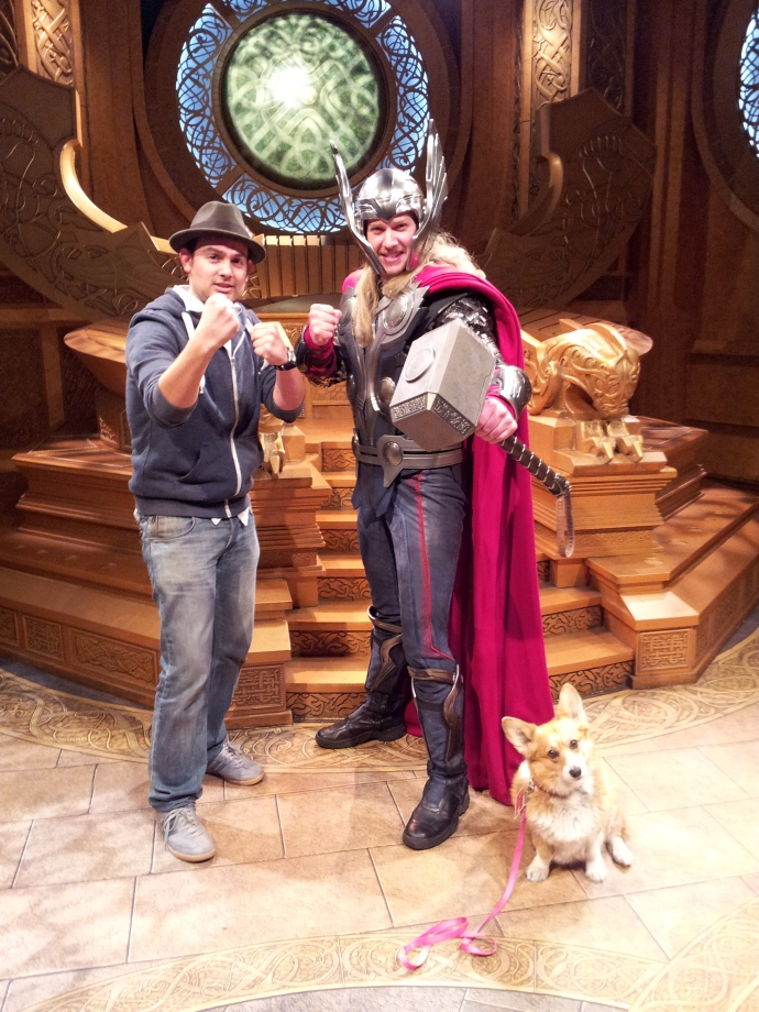 Cesar Zamora, Thor & Pancake the Corgi at Disneyland