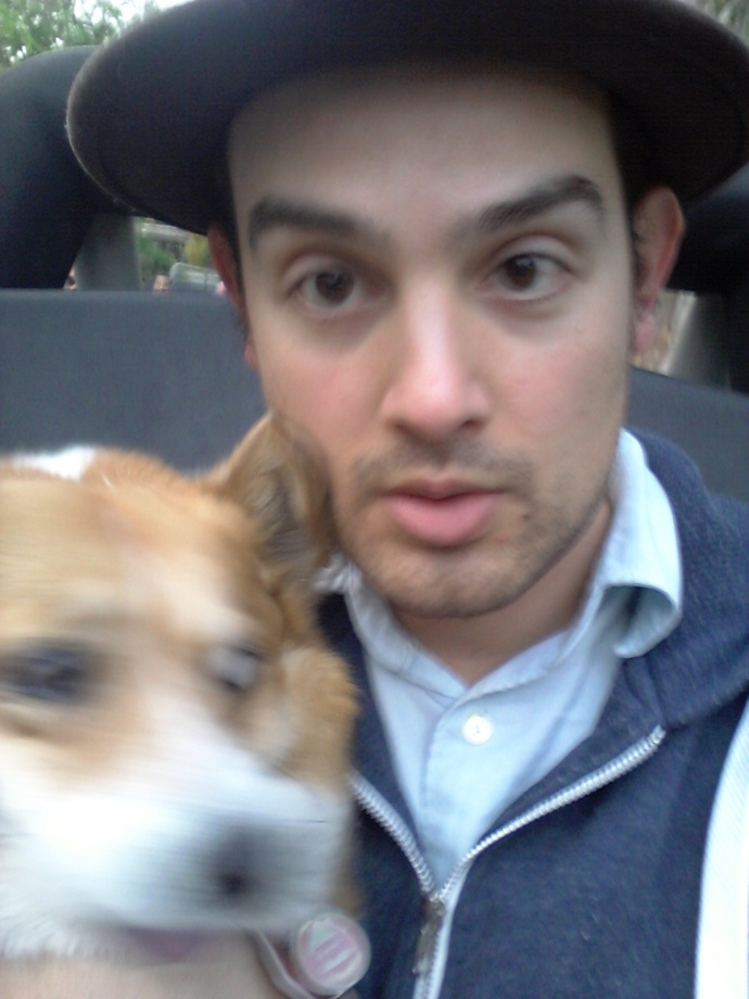 Steering and taking selfies with Pancake the Corgi. Automatic ticket in California