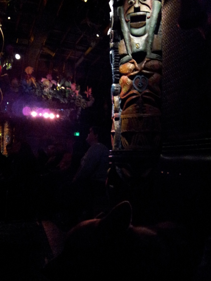 Pancake the Corgi in the Tiki Room Three