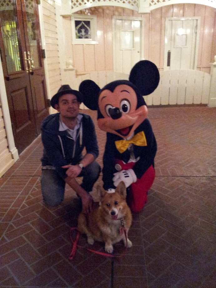 Cesar Zamora, Pancake the Corgi and Mickey Mouse.